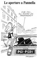 VIGNETTA Mentre Pannella cammina sul marciapiede, da una macchina targata Psi-Psdi, due figure, la cui silhouette ricorda la fisionomia dei segretari