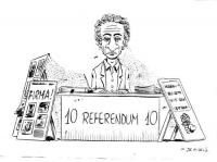 """VIGNETTA Marco Pannella, seduto dietro un banchetto per la raccolta dei """"10 referendum 10"""", appare impietrito e coperto di ragnatele. Vignetta apparsa"""