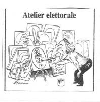 """VIGNETTA """"Atelier elettorale"""" Marco Pannella, in uno studio di pittura, dipinge il simbolo della rosa nel pugno. Vignetta apparsa sul quotidiano: """"Il"""