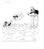 VIGNETTA Pannella da una banchina lancia una ciambella a Cossiga che Annega. La ciambella reca effigiato il volto di Craxi. Vignetta di Forattini, usc