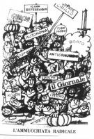 "VIGNETTA Sopra il titolo: ""L'ammucchiata  radicale"", una folla di gente reca cartelli disparati, quali: ""Anticomunismo"", ""10.000 referendum"", ""Autonom"