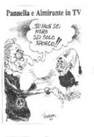 """VIGNETTA Titolo: """"Pannella e Almirante in TV"""". Pannella - dolce vita nera e medaglione al collo con il simbolo della nonviolenza - tiene in mano il pu"""