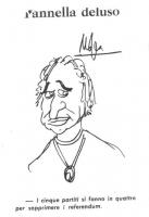 """VIGNETTA Titolo: """"Pannella deluso"""". Caricatura di Pannella, con al collo un medaglione (probabilmente con il simbolo della pace). Afferma: """"I cinque p"""