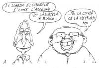 """VIGNETTA Pannella afferma: """"La scheda elettorale è come l'assegno. Voi lasciatela in bianco..."""". Craxi risponde: """"...Poi la cifra ce la mettiamo noi""""."""