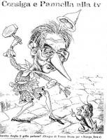 """VIGNETTA Cossiga in veste di Pinocchio con un martello fa per schiacciare Marco Pannella in forma di grillo parlante. Sopra la vignetta il titolo: """"Co"""