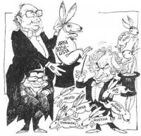 """VIGNETTA Craxi a cavacecio di Longo tira fuori da un cilindro un coniglio su cui è scritto: """"Area socialista""""; Pannella tira fuori dal cilindro vari c"""
