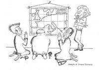 VIGNETTA Berlinguer, Craxi, Zaccagnini sono inginocchiati in atto di adorazione davanti a una cartina politica dell'Europa. Pannella, in piedi, in dis