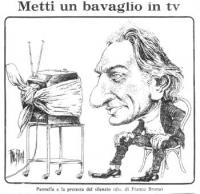 """VIGNETTA Sotto il titolo: """"Metti un bavaglio in tv"""", il disegno mostra un Pannella caricaturalmente ritratto, che osserva uno schermo televisivo imbav"""