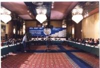 Campo totale della sala in cui si svolge il Consiglio federale del Partito Radicale a Zagabria.