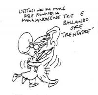 """VIGNETTA Pannella e la Bonino ballano in coppia. Didascalia: """"L'estasi non fa male  disse Pannella  mangiandosene tre e  ballando ore trentatre"""". Vign"""