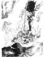 VIGNETTA Pannella vagheggia se stesso nei panni di un cavaliere che infilza con la lancia un drago, mentre una fanciulla lo guarda estasiata. Vignetta