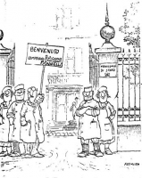 """VIGNETTA Alcuni infermieri, sul cancello di entrata di un """"manicomio di Stato"""", attendono Pannella. Uno di loro regge il cartello: """"Benvenuto compagno"""