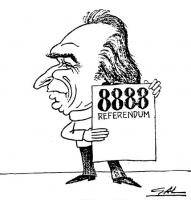 """VIGNETTA Marco Pannella tiene in mano un cartello, su cui è scritto: 8888 referendum. Titolo in calce: """"La svalutazione del marco"""". Vignetta firmata G"""