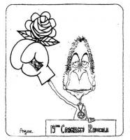 VIGNETTA Dietro la tribuna del 19° Congresso del Partito Radicale, Marco Pannella stringe la rosa con un guanto da pugile. Vignetta firmata Angese, us