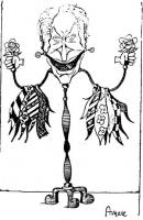 VIGNETTA Pannella in forma di attaccapanni, sulle cui braccia (che stringono una rosa nel pugno) sono appoggiate svariate cravatte. La vignetta di Ang