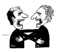"""VIGNETTA Titolo: """"Il bacio"""". Berlinguer e Pannella, nell'atto di abbracciarsi e baciarsi, digrignano ferocemente i denti. Vignetta apparsa su """"Il Gior"""