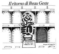 """VIGNETTA Titolo: """"Il ritorno di Beau Geste"""". Un seggio parlamentare vuoto. A fianco, un vaso contenente una rosa nel pugno, e, di fronte, il cartello:"""