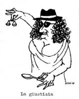 VIGNETTA Personificazione della giustizia con una capigliatura alla De Michelis. Con una mano sollevata in alto tiene un bilancino di precisione; con