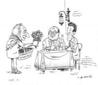 VIGNETTA Pannella, in veste di anziana fioraia, offre una rosa presso il tavolo all'aperto dove cenano Berlinguer e Craxi. Il suo cesto reca la scritt