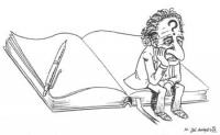 VIGNETTA Marco Pannella, un punto interrogativo impresso sulla fronte, siede sulle pagine di un libro completamente bianco, sul quale è deposta una pe