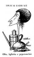 """VIGNETTA Titolo: """"Digiuni radicali"""". Adelaide Aglietta, il cui collo lunghissimo e stretto spunta da un panino imbottito di etichette con la scritta """""""