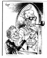 """VIGNETTA Marco Pannella appende un cuore con la scritta """"Per grazia ricevuta"""", sull'icona di Pertini con l'aureola. Vignetta firmata da Vauro, uscita"""