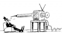 VIGNETTA Una siringa spunta da uno schermo televisivo, puntata contro uno spettatore sprofondato in poltrona. Vignetta firmata Shuto, apparsa nella si