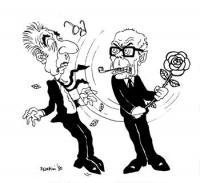 VIGNETTA Il presidente della repubblica Pertini sferra un manrovescio a Francesco Cossiga, impugnando una rosa. Vignetta di Forattini, uscita sul quot