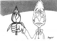 """VIGNETTA Marco Pannella con un carciofo nel pugno. Vignetta firmata Angese, apparsa sul quotidiano """"L'ora"""""""