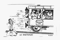 """VIGNETTA Titolo: """"Le partenze"""" Pannella abbandonato alla stazione da un treno diretto a Palazzo Chigi, con a bordo Goria, Craxi, De Mita, Altissimo, S"""