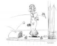 VIGNETTA Pannella piangente sul palcoscenico nei panni di Cicciolina. Dalla platea, gli tirano contro mele, ortaggi, barattoli. Vignetta firmata De An