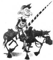 """VIGNETTA Marco Pannella nei panni di Don Chisciotte, lancia in resta a cavallo di un ronzino. Disegno di Vauro, pubblicato su """"Panorama"""", nel contesto"""