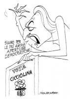 """VIGNETTA Di fronte a un poster elettorale di Cicciolina, Pannella proclama: """"Siamo per le più ampie aperture democratiche!"""". Vignetta firmata Marcanto"""