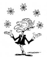 VIGNETTA Marco Pannella, come un giocoliere, fa rimbalzare di mano in mano alcuni disegni stilizzati dell'atomo. (E' l'anno in cui si conduce una vitt