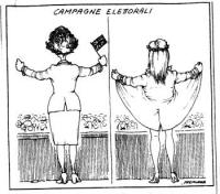 VIGNETTA La vignetta pone a confronto la figura di Margaret Tatcher che arringa la folla da un balcone impugnando la bandierina inglese; e quella di C
