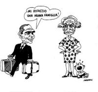 """VIGNETTA Enzo Tortora, con le valigie, abbandona la moglie Pannella e un bebé piangente dichiarando: """"Mi rifaccio una nuova famiglia!"""". La vignetta fi"""
