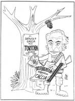 """VIGNETTA Pannella, nei panni di un cacciatore, affigge sul tronco di un albero il manifestino: """"Battuta di caccia alla tortora selvatica"""", in sostituz"""