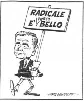 """VIGNETTA Enzo Tortora impugna il cartello: """"Radicale è [porto]bello"""". Vignetta firmata Origone, uscita sul quotidiano """"Secolo XIX""""."""