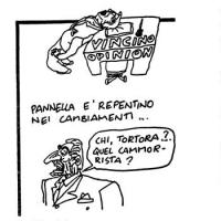 """VIGNETTA Rubrica: """"Vincino opinion"""". Didascalia: """"Pannella è rapido nei cambiamenti...."""". Pannella: """"Chi, Tortora?...Quel camorrista?"""". Vignetta firma"""