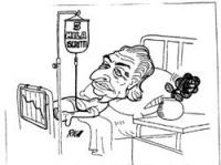 """VIGNETTA A Pannella, disteso su un letto di ospedale, è applicata una flebo sulla cui fiala è scritto: """"5 mila iscritti"""". Sul comodino, un vaso con la"""