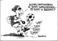 """VIGNETTA Pannella, nei panni di un arbitro calcistico, afferma: """"Allegri, continueremo ai tempi supplementari...15 tempi vi bastano?"""". La vignetta, fi"""
