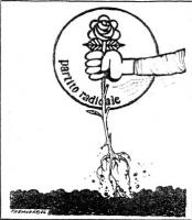"""VIGNETTA Il pugno del logos radicale sradica la rosa dal terreno. Vignetta firmata Fremura, pubblicata nel contesto di un articolo intitolato: """"I radi"""
