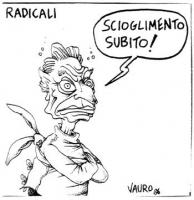 """VIGNETTA Titolo: """"Radicali"""". Pannella, legato con una camicia di forza, esclama: """"Scioglimento subito!"""". La vignetta di Vauro, uscita sul """"Manifesto"""","""