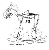 """VIGNETTA Una caffettiera che reca la scritta Pr, avente per becco la testa di Pannella. La vignetta, firmata Luciano Francesconi, è apparsa sul """"Corri"""