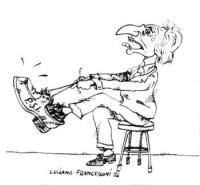 """VIGNETTA Marco Pannella si prova una scarpa, vistosamente troppo larga, su cui è scritto Psi. Vignetta di Luciano Francesconi, uscita sul """"Corriere de"""