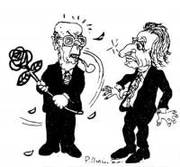"""VIGNETTA Il Presidente della Repubblica Sandro Pertini strappa bruscamente di mano a Pannella, la rosa del logos radicale. Vignetta apparsa sulla """"Gaz"""
