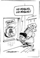 VIGNETTA Martelli, nei panni di un monello, trascinato via da mamma Craxi, vede esposto in vetrina un manifesto del Partito radicale, venduto come sal
