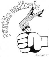 VIGNETTA Il pugno del logos radicale stringe due gambe femminili inguainata in calze a rete e giarrettiera. Vignetta firmata Toni Angeli, apparsa sul