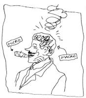 """VIGNETTA Massimo D'Alema fuma uno spinello. Lo spinello è indicato con il cartello """"Micro""""; la testa di D'Alema è indicata con il cartello: """"Macro"""". L"""