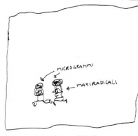 """VIGNETTA Due omini, il primo indicato come: """"Microgrammi""""; il secondo, come: """"Maxiradicali"""". La vignetta di Vincino, inedita, si riferisce a una sente"""